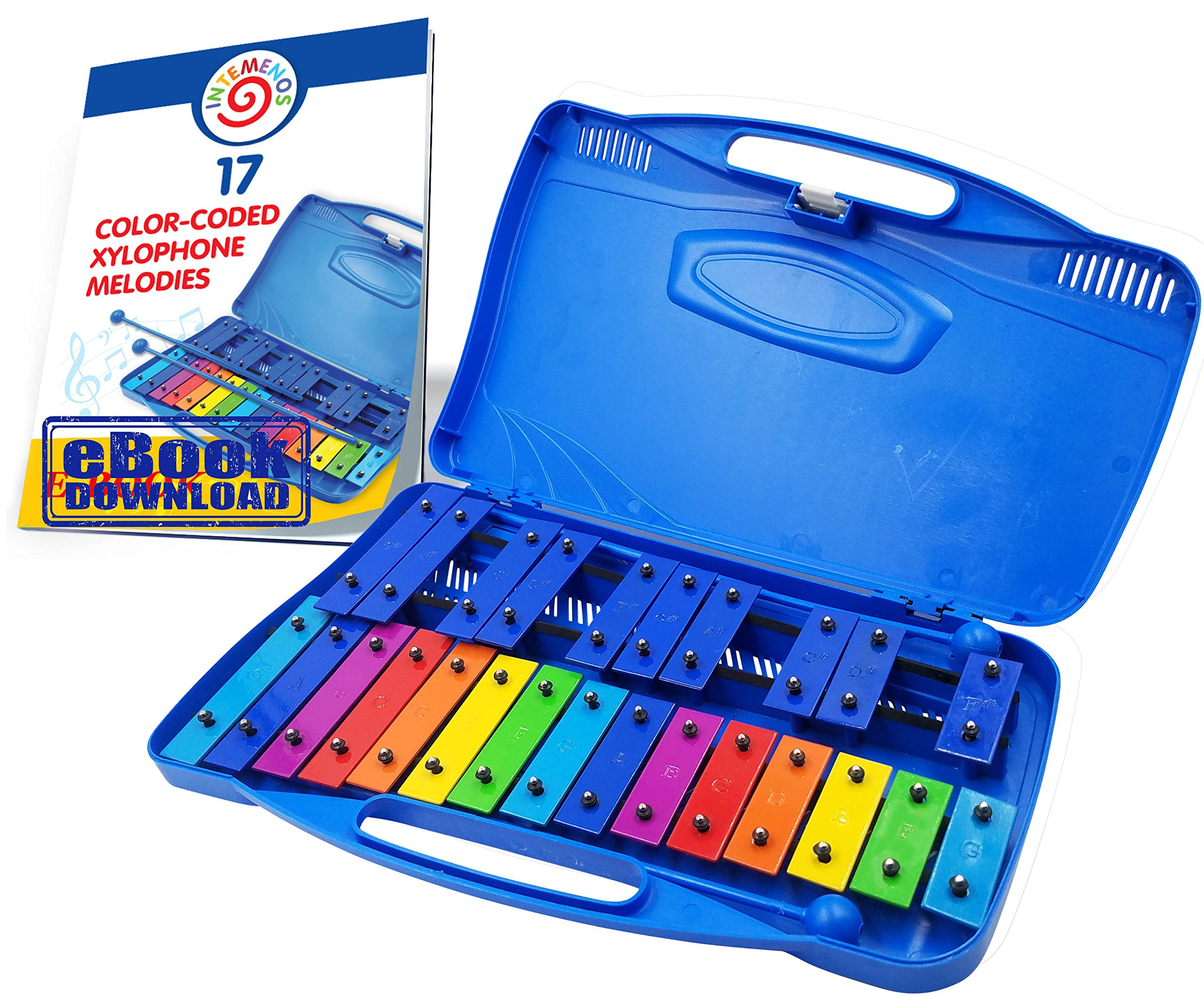 inTemenos Xylophone Glockenspiel 25 Note Chromatic Xylophone in a Plastic Case - 17 Color-Coded Song E-Book just for This Xylophone