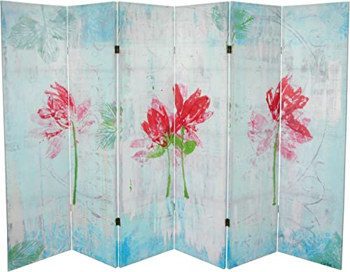 Oriental Furniture 5 1 4 ft. Spring Morning Canvas Room Divider 6 Panel