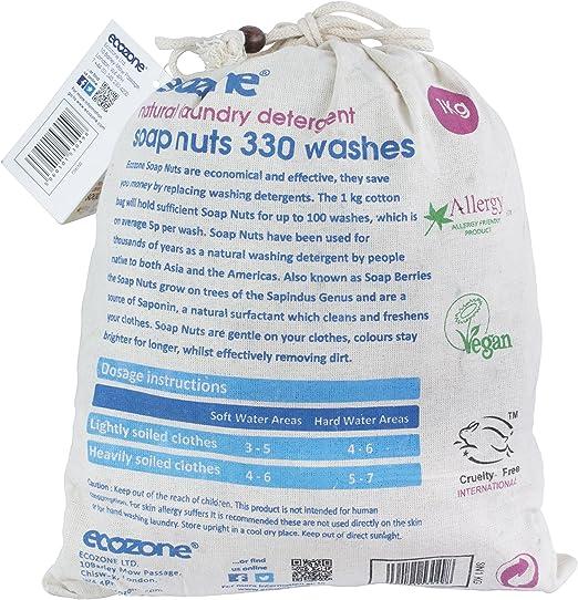 Ecozone - Nueces de jabon para lavar la ropa (bolsa de 1 kg, hasta ...