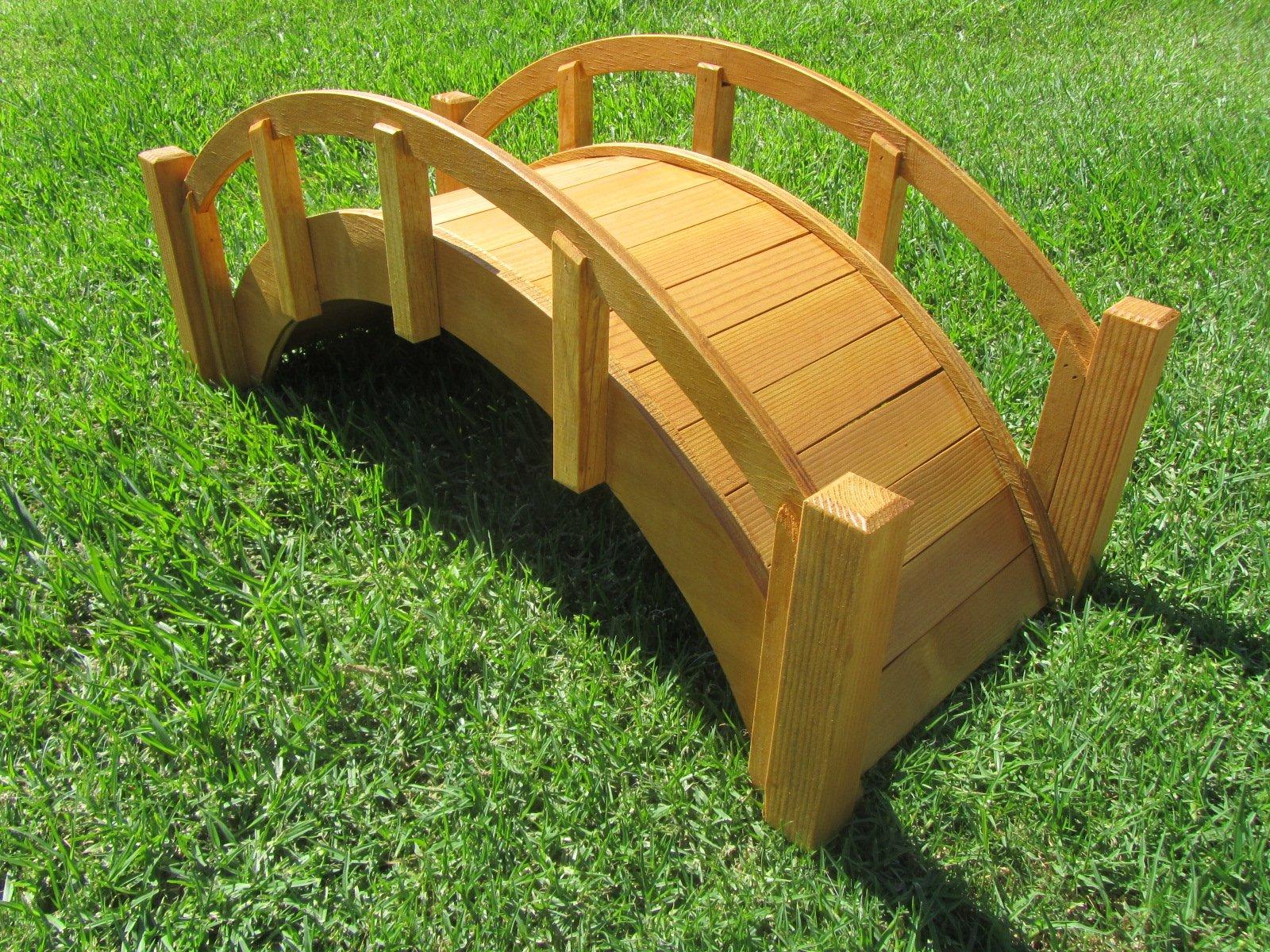 SamsGazebos Miniature Japanese Waterproofed Wood Garden Bridge, 25-Inch, Tan by SamsGazebosTM (Image #3)