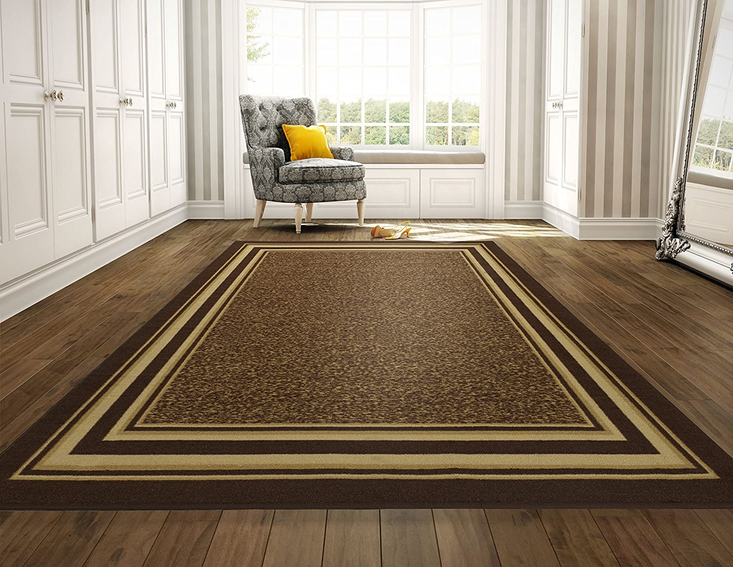 Ottomanson Ottohome Collection Brown Color Contemporary Bordered Design Runner Rug With Non-Skid Rubber Backing, 1'10W x 7'0L OTH2318-2X7