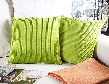 2 Fundas Cojines 45 x 45 cm, Cojines Pana Color Verde. Cojín Terciopelo suave a rayas, Hecho en España (panancha-ver-l-45x45: Amazon.es: Hogar