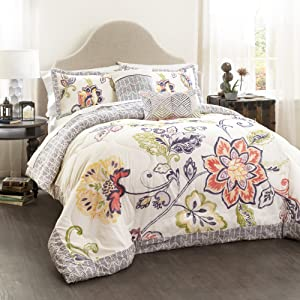Lush Decor Coral and Navy Aster Comforter Set-Flower Pattern Reversible 5 Piece Bedding-Full Queen