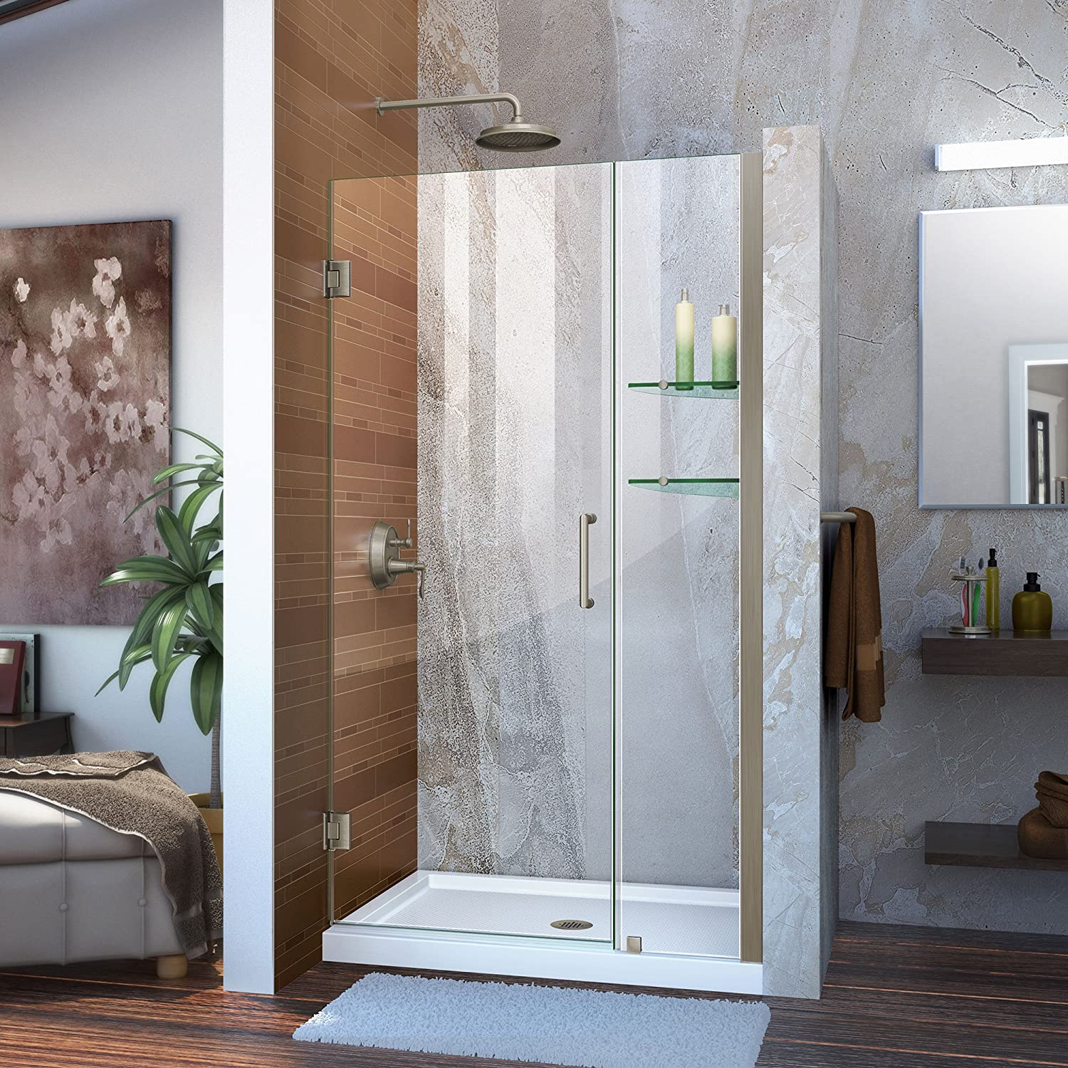 DreamLine Unidoor 39-40 in. W x 72 in. H Frameless Hinged Shower Door with Shelves in Brushed Nickel, SHDR-20397210S-04