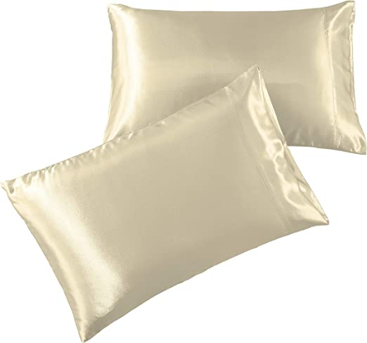 Amazon Com Pure Bedding Satin Pillowcase Queen 2 Pack Ivory