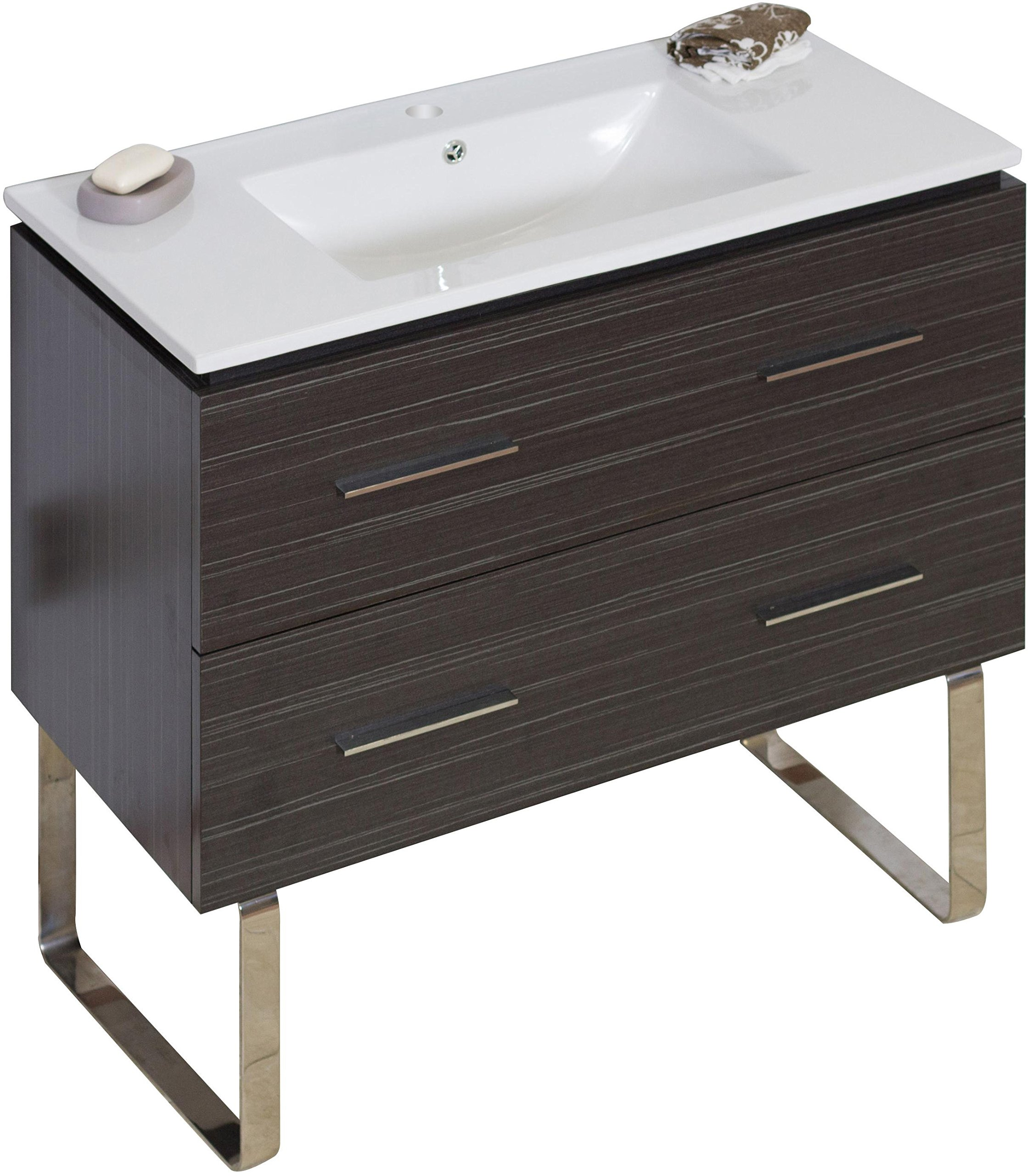 American Imaginations 735   36-Inch W X 18-Inch D Solid Plywood Vanity with White Ceramic Top for Single Hole Faucet