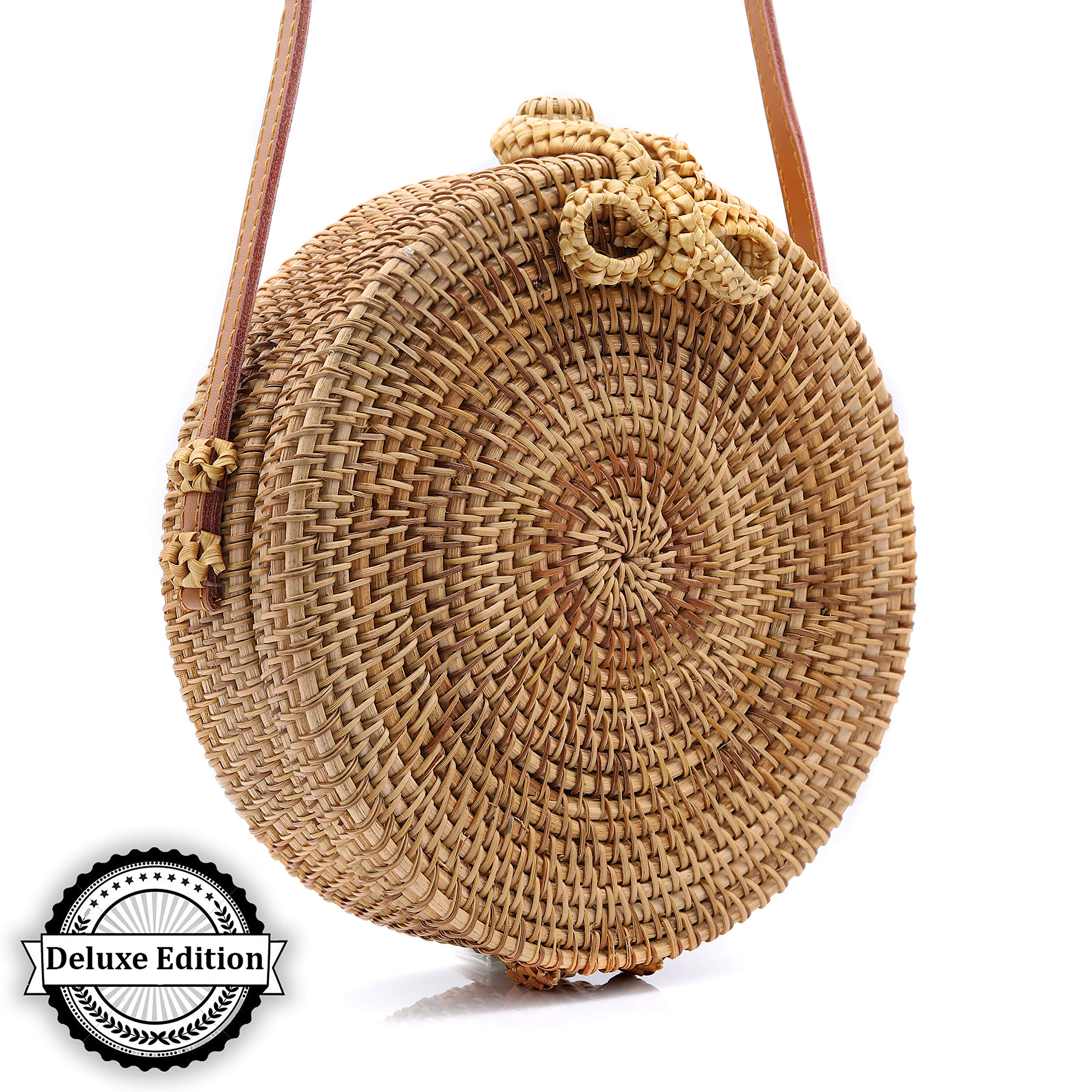 RATTAN NATURALS Handwoven Round Rattan Crossbody Bag| DELUXE EDITION | Round Straw Bag for Women | Genuine 100% Leather Shoulder straps | Straw purse For Women | Boho bag | Straw Handbag for Women by Rattan Naturals (Image #9)