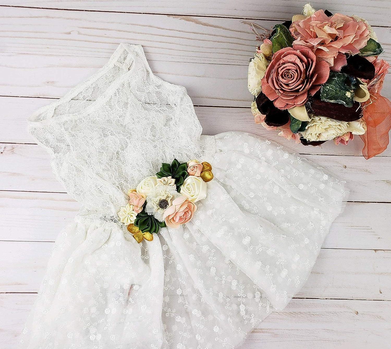 Amazon Com Dog Wedding Dress Flower Dog Dress Sage And Blush