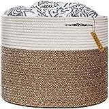 "Goodpick Large Cotton Rope Basket 15.8""x15.8""x13.8""-Baby Laundry Basket Woven Blanket Basket Nursery Bin"