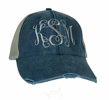 Image Unavailable. Image not available for. Color  Mary s Monograms  Monogrammed Distressed Trucker Hat Navy Blue 1c1254abd4