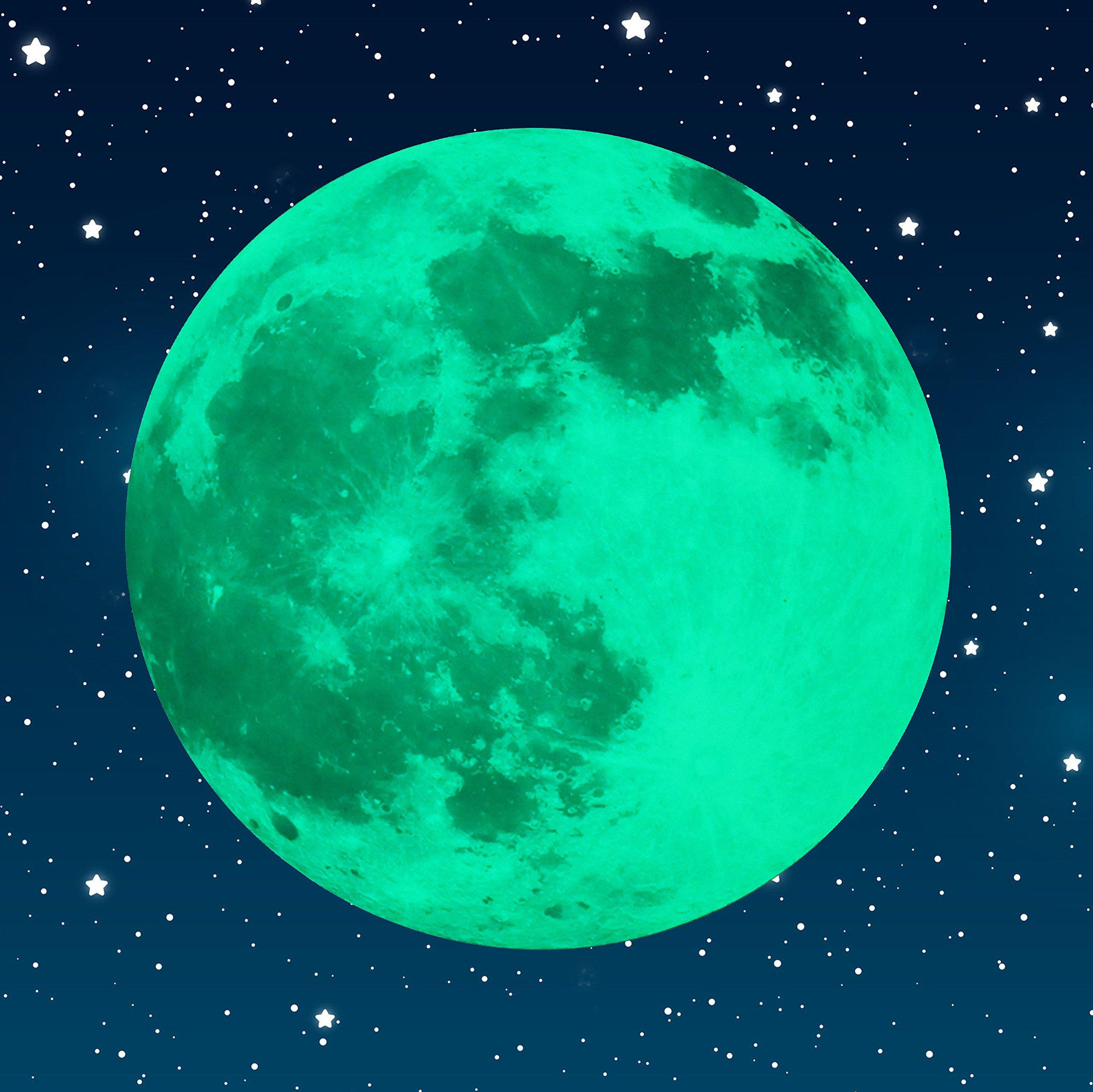 Paraboo Leuchtmond Selbstklebend 30cm Grün Ideal Als Kinderzimmer  Wandaufkleber Oder Aufkleber Für Schlafzimmer