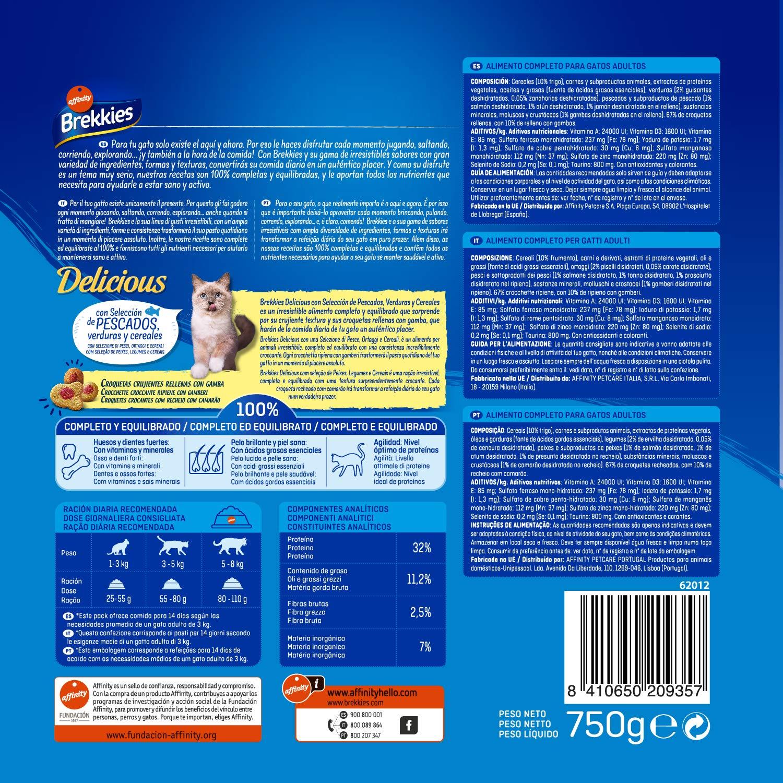 Brekkies Pienso para Gatos Delicious con Pescado y Verduras - 750 gr: Amazon.es: Productos para mascotas