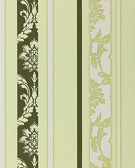 Wallpaper Wall Modern Art Baroque EDEM 053 25 Stripes Moss Green White Pastel 533
