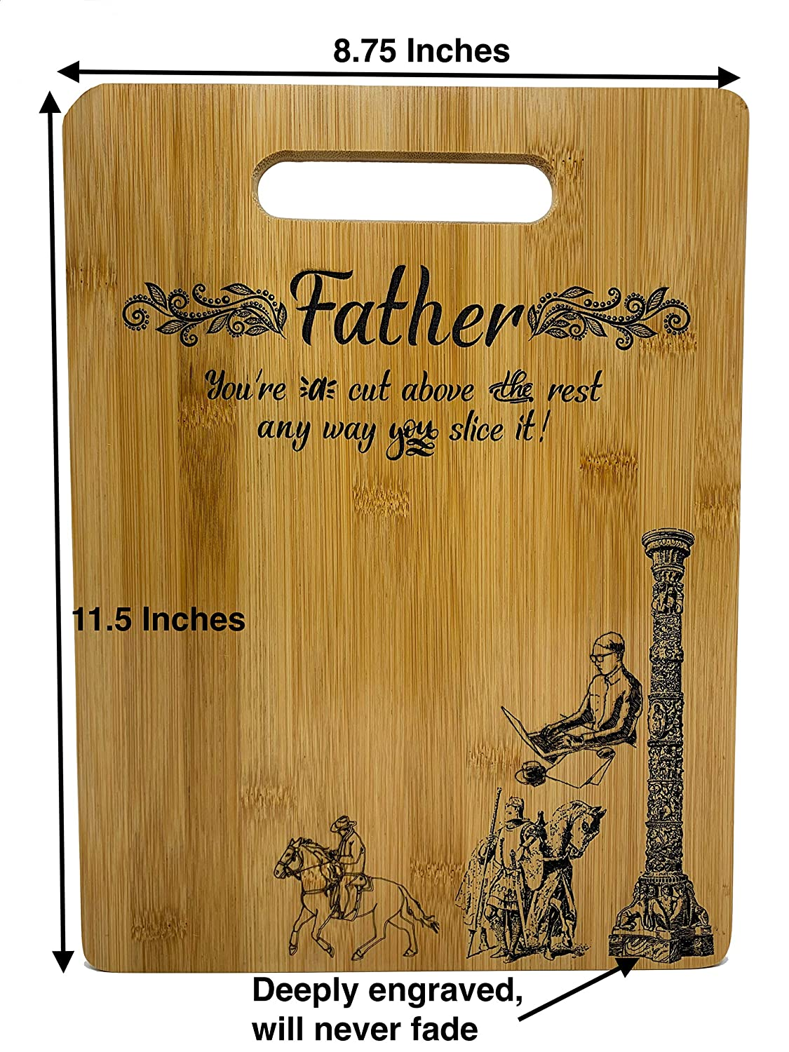 Father Gift 8.75x11.5 Rectangle Bamboo Cutting Board Design Father Gift Fathers Day Gift Birthday Christmas Gift Engraved Side For D/écor Hanging Reverse Side For Usage