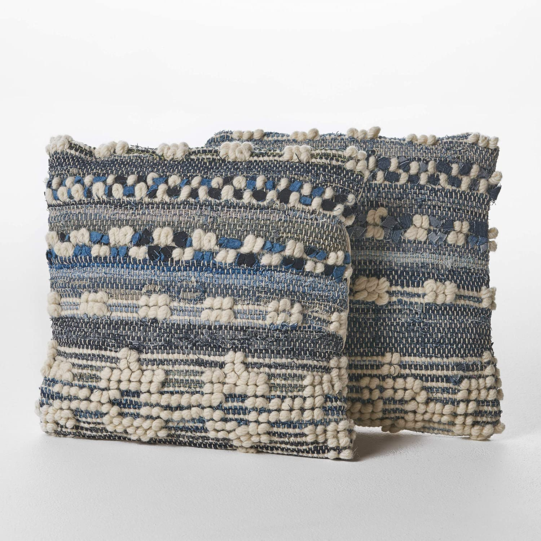 Christopher Knight Home Clara Wool and Denim Pillows, 2-Pcs Set, Blue / White