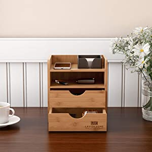 Lavish Home 4-Tier Bamboo Desk Organizer-Wooden Supply Storage Accessory with Drawers and Natural Finish for Home, School or Office