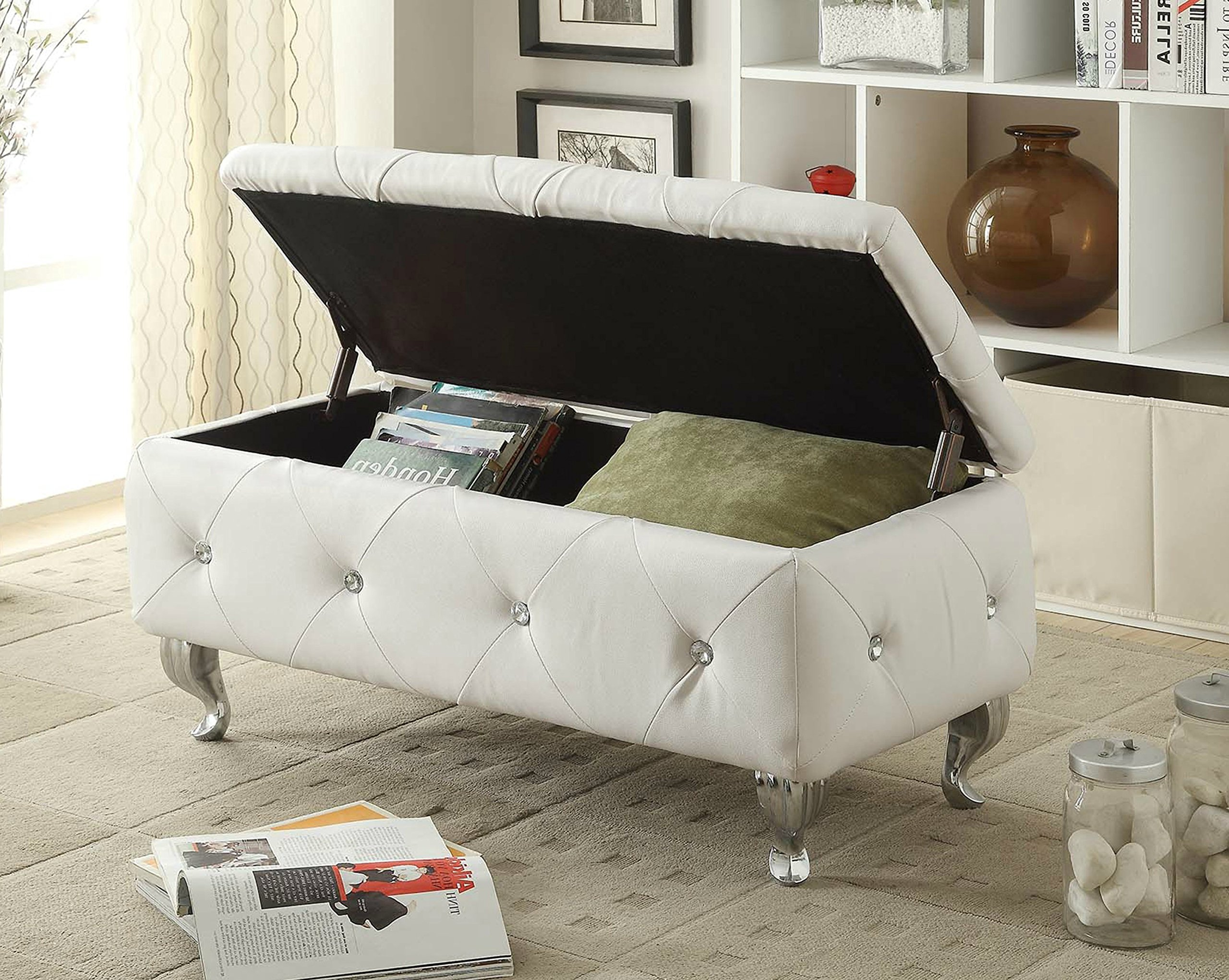 Storage Ottoman Bench Entryway Upholstered Faux Leather Tufted (White)