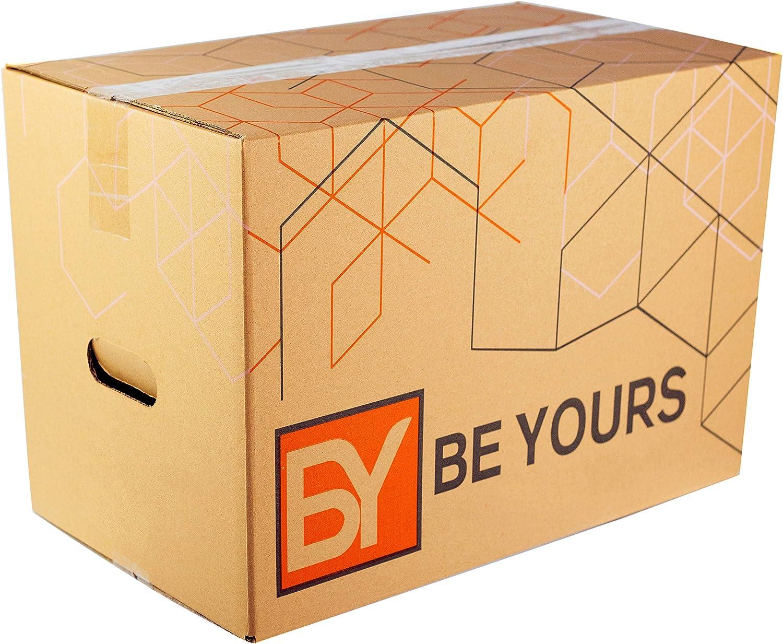 BY BE YOURS Pack de 10 Cajas Carton Mudanza Grandes con asas - 500x300x300 mm en Cartón Doble - Cajas Mudanza Ultra Resistentes - Cajas Almacenaje Fabricadas en España