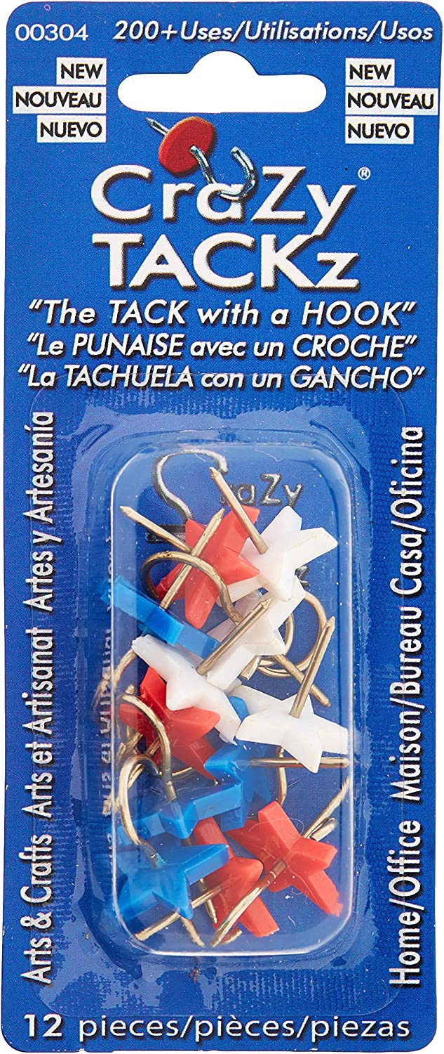 Crazy TACKz Stars Red, White & Blue 3pk=36 Tacks New Invention - 2 for 1: Push pins & Hook - Hang 100's of Items & Interior or Exterior Decor at Home, School, Office, DIY, for Party or Holiday