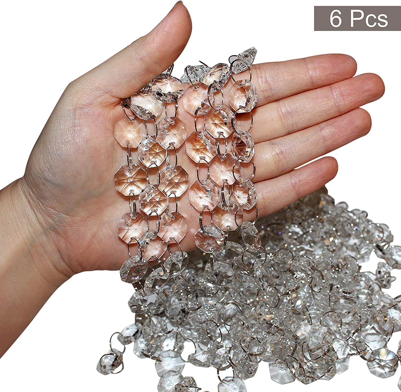 Set Cadenas de Cristal (Pack de 6 - cada 1m de Largo) - Cristal 1,5cm de Ancho Transparente Vidrio Forma Octágono para Arañas, Cortinas Puertas Colgantes, Decoraciones Bodas, Brazalete y Hacer Joyas