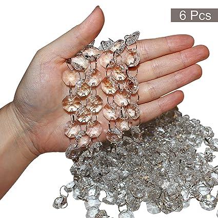 6 pouce en verre transparent cristal strass cha/îne /à perles Lustre