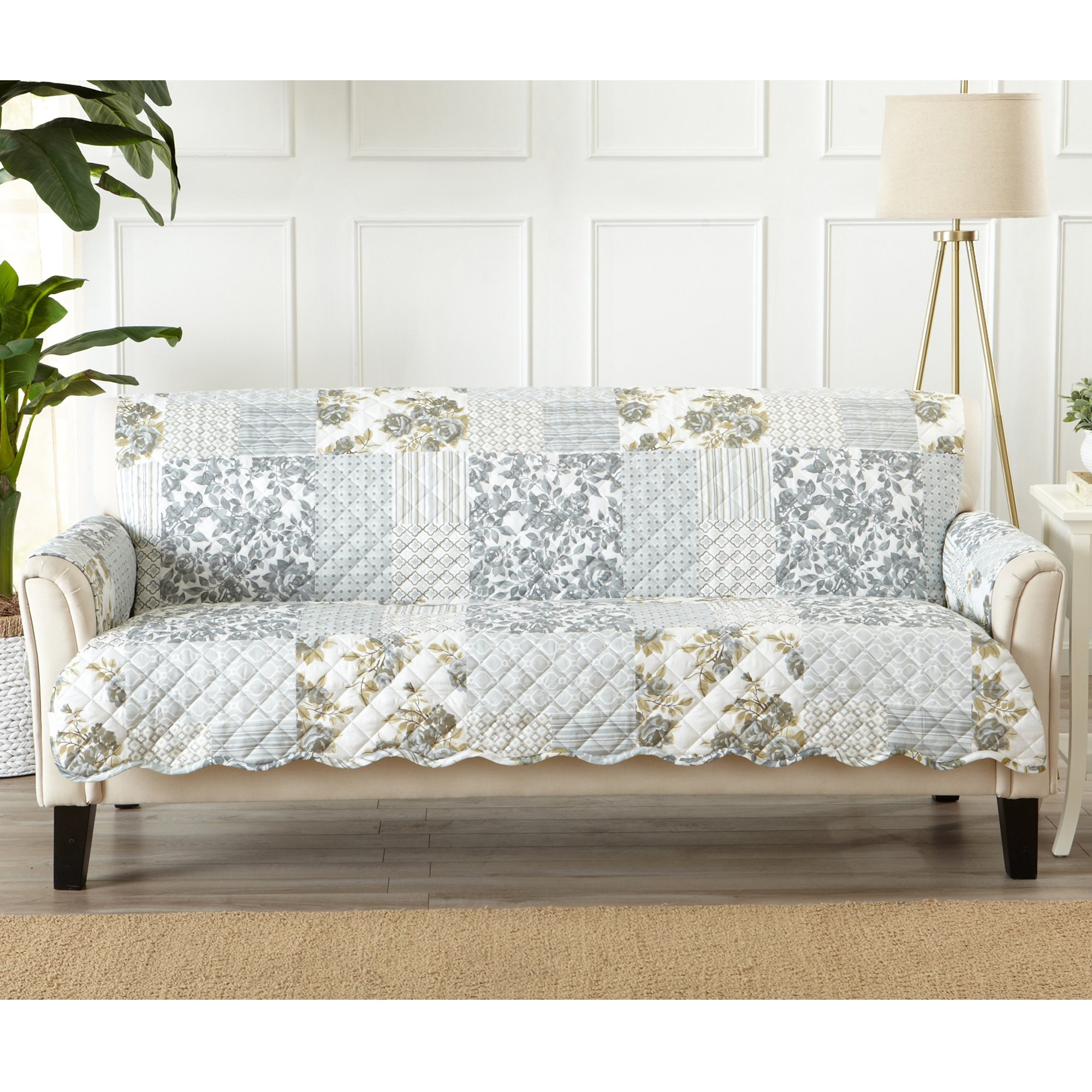 Great Bay Home Patchwork Scalloped Stain Resistant Printed Furniture Protector. By Brand. (Sofa, Grey)