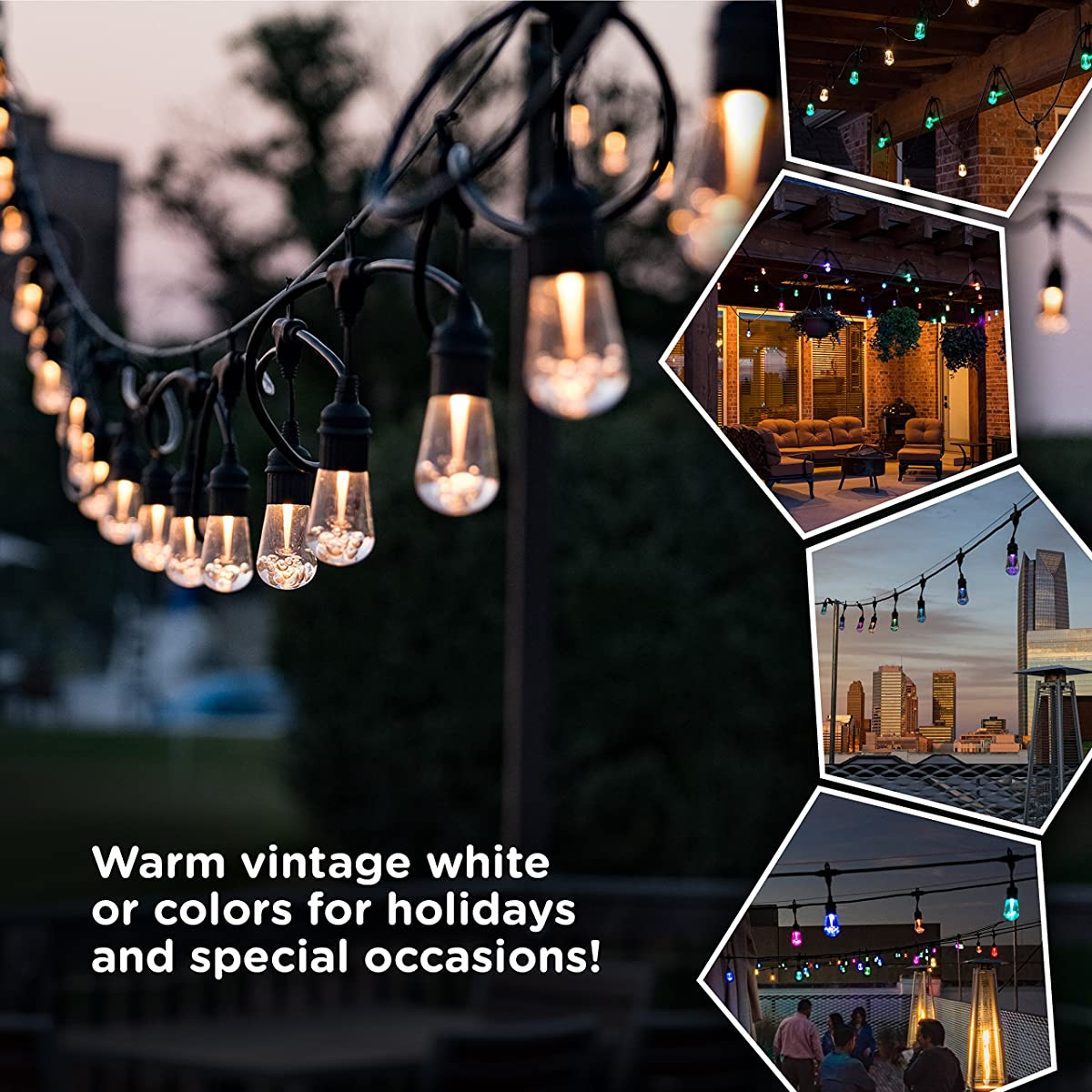 Enbrighten Vintage Seasons LED Warm White & Color Changing Café String Lights, Black, 48ft., 24 Premium Impact Resistant Lifetime Bulbs, Wireless, Weatherproof, Indoor/Outdoor, Commercial Grade, 37790