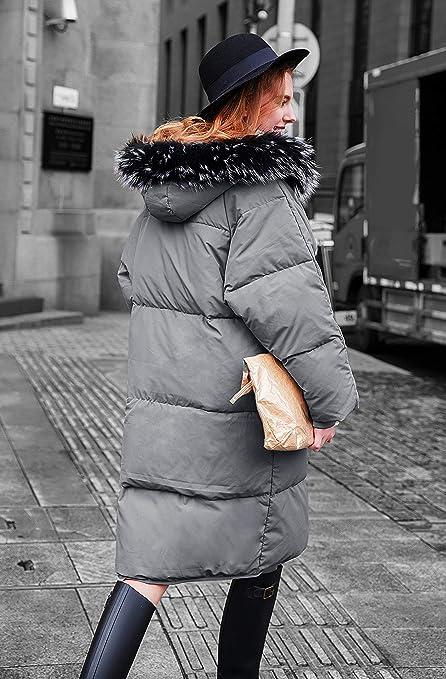 you.u Abrigo Largo de Invierno para Mujer con Capucha de Piel Sintética: Amazon.es: Ropa y accesorios