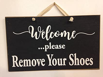 Amazoncom Imousde Welcome Please Remove Your Shoes Wood Signs