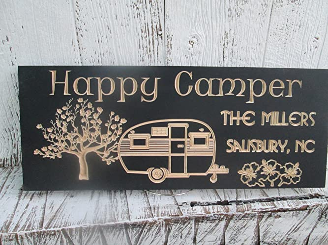 Custom Happy Camper Sign Personalized Carved Wooden Signs C103