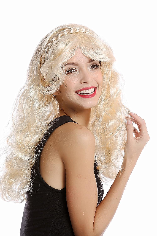 WIG ME UP ® - 90916-ZA88 Peluca Mujer Halloween Rubio Claro Largo Ondulado Rizado Diadema Pelo Trenzado