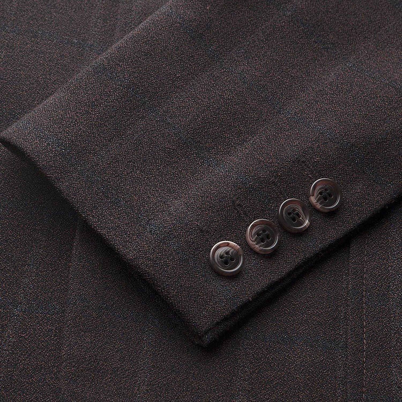 Hanayome Mens Casual Windowpane Double Breasted Jacket Blazer Separate Coat