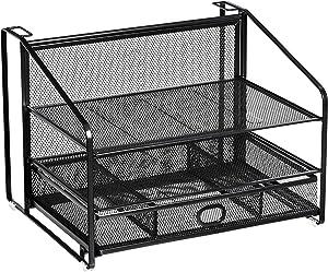 AmazonBasics 3 Tray Desk Organizer with Sliding Drawer and Hanging File Holder, Black