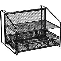 AmazonBasics Organizador de escritorio con cajón corredizo y archivador colgante, 3 bandejas, negro
