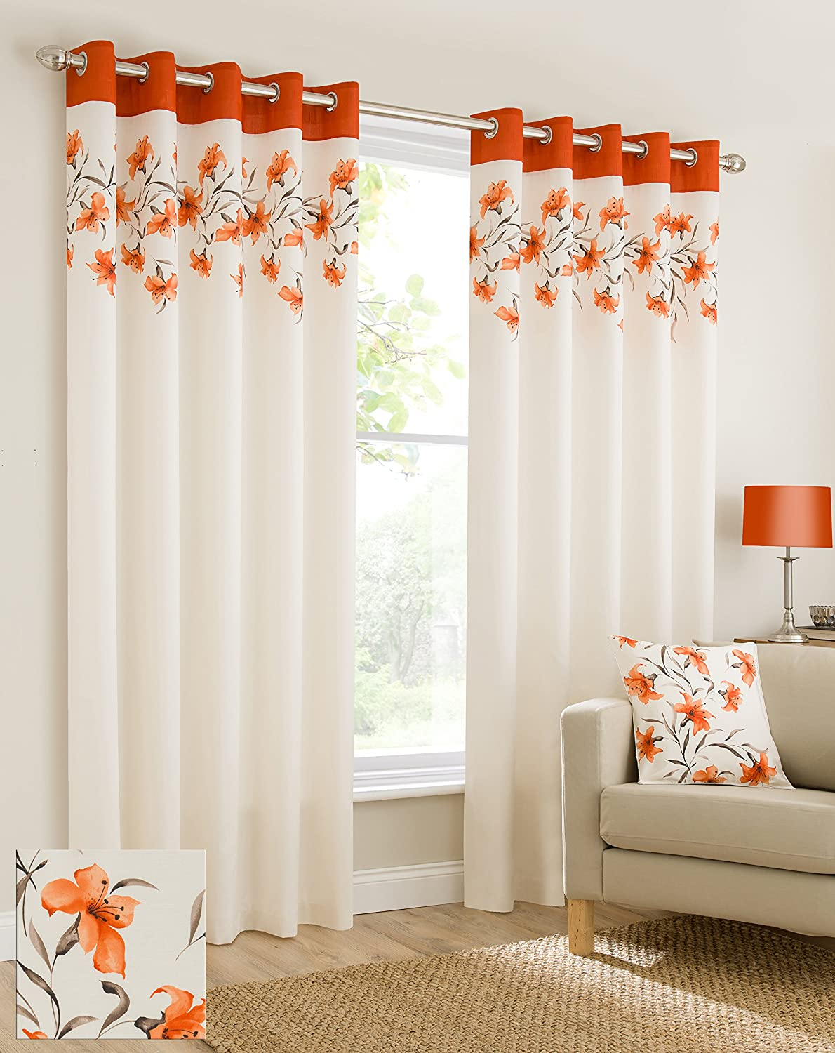 Plain Faux Silk Look Eyelet Ring Top Orange Cream Brown Fully Lined Curtains  Lily Flowers Floral Leaves 66x90 Inches 168cmx229cm Drop Eyelet Ring Top  Ready ...