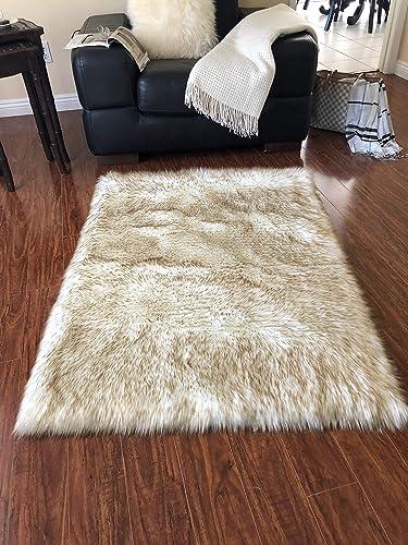 Lambzy Faux Sheepskin Classic Square Area Rug Plush Fur Premium Shag 4 x6 , White Brown