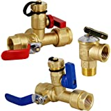 Twinkle Star 3/4 Inch IPS Isolator Tankless Water Heater Service Valve Kit, with Pressure Relief Valve, Clean Brass…