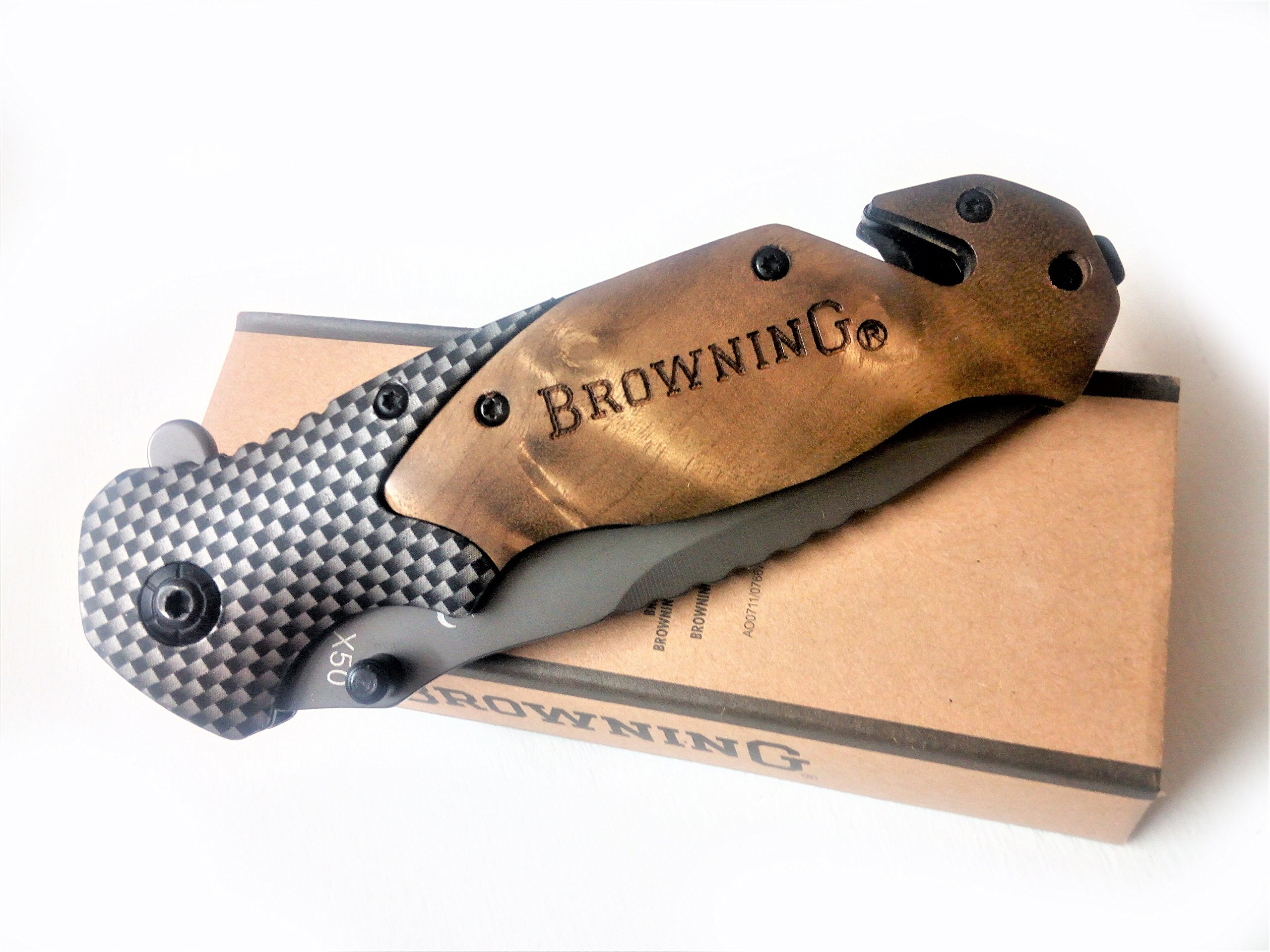 Brrrowning Hunting Folding Knife with Seat Belt Cutter and Slotted Screwdriver for Survival Camping Tactical, Gray Titanium Coating Blade and Wood Handle