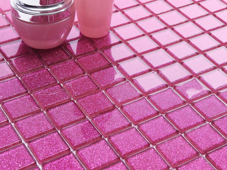 Glasmosaik Fliesen Pink Rosa Glitzer 15x15x8mm