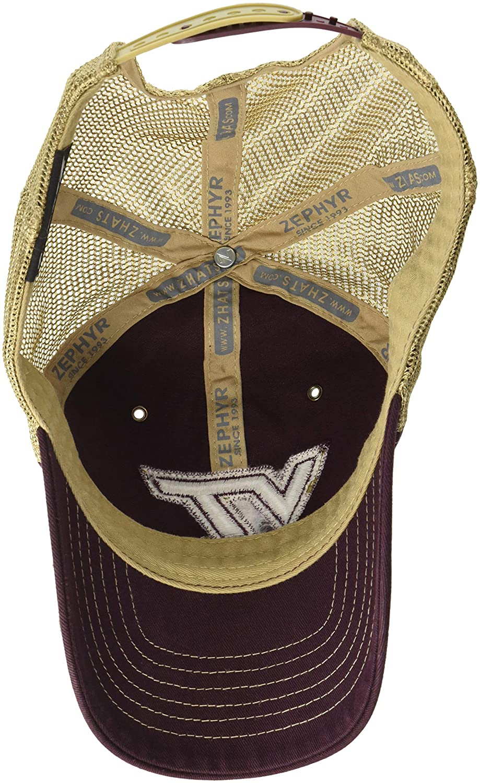 NCAA Zephyr Virginia Tech Hokies mens Tatter Relaxed Hat Adjustable Maroon