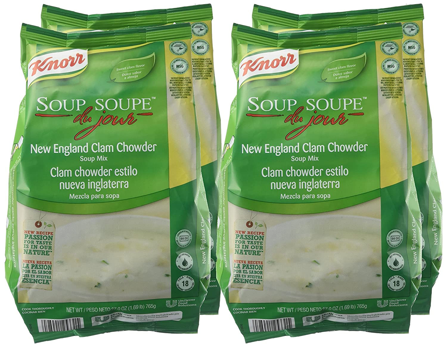 Amazon.com : Knorr Soup du Jour Mix New England Clam Chowder 27 ounces 4 count : Grocery & Gourmet Food