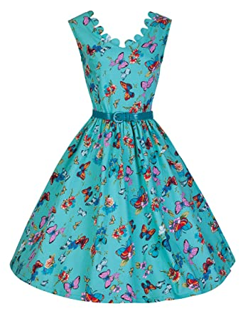 5b4707455ca5b Lindy Bop 'Daria' 1950's Turquoise Butterfly Summer Meadows Swing Dress (26,  Turquoise
