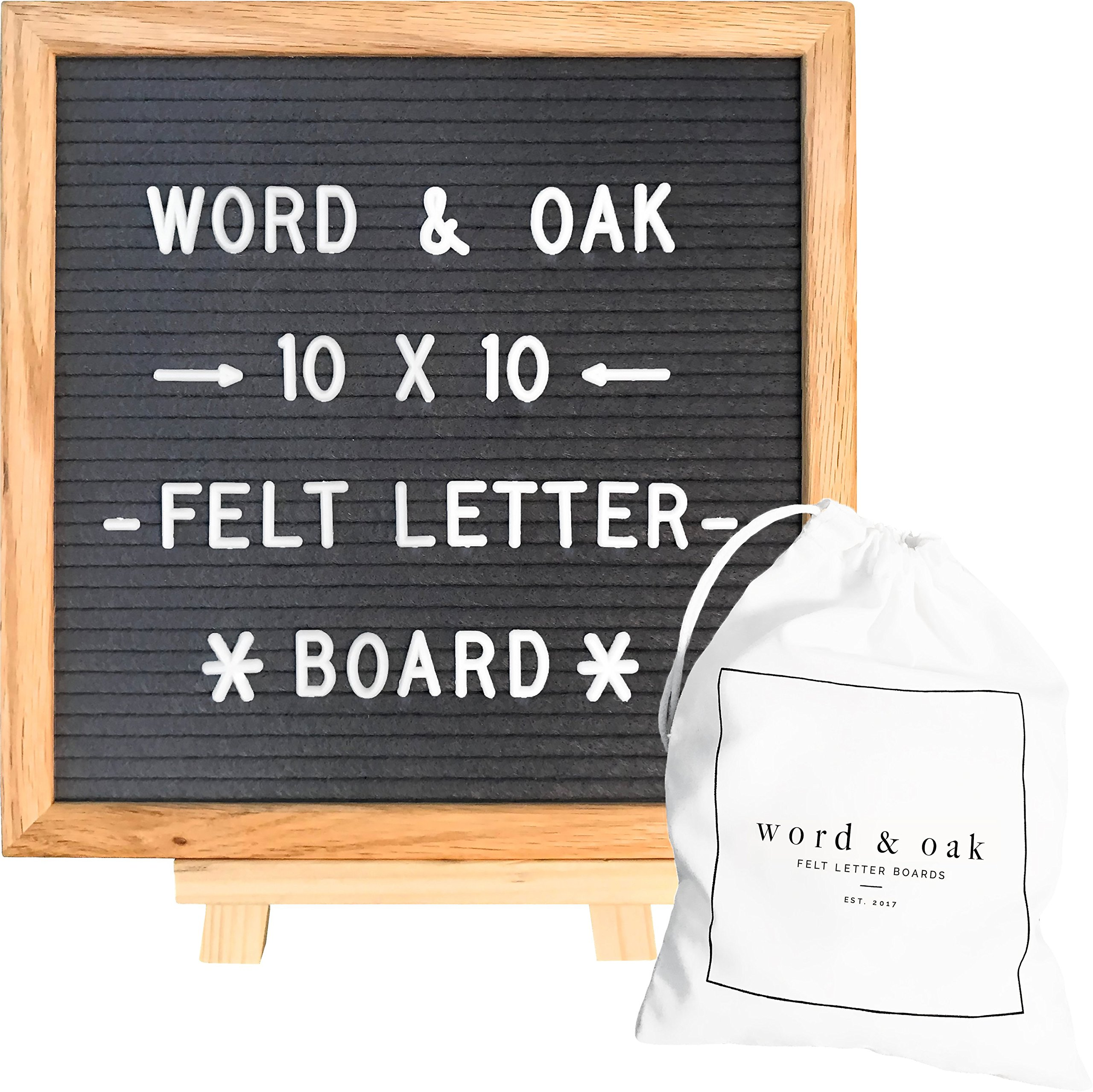 Gray Felt Letter Board 10 x 10 Inches Changeable Letters 304 White Plastic Letters and Oak Frame by Word and Oak