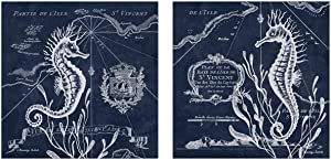 Nautical Navy Blue and White Under Ocean Seahorse Set by Gwendolyn Babbitt; Coastal Decor; Two 12x12in Unframed Paper Posters