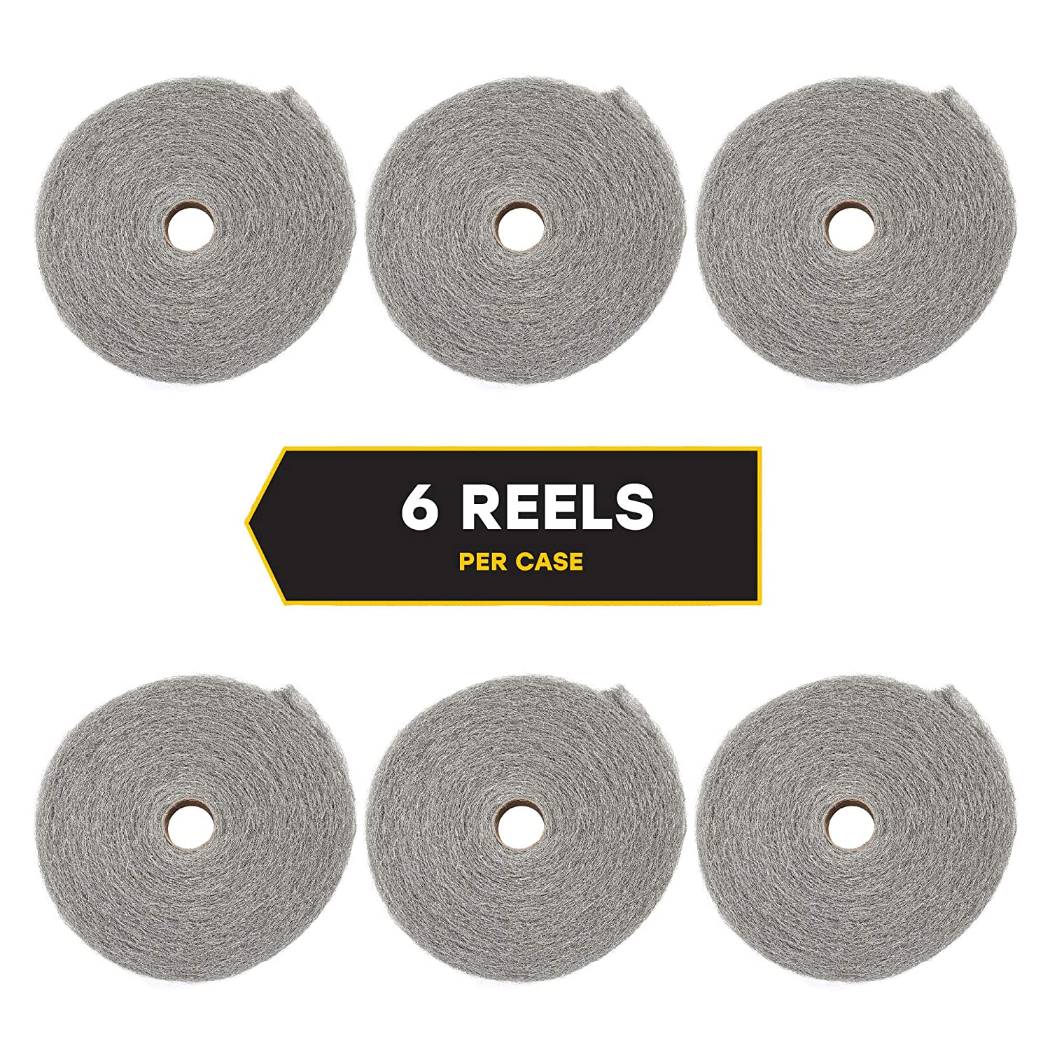 ; 5 lb Reel 161060 Case of 6; For Rusting and Corrosion Global Material Technologies 316L Stainless Steel Wool Reel 0 Fine Grade