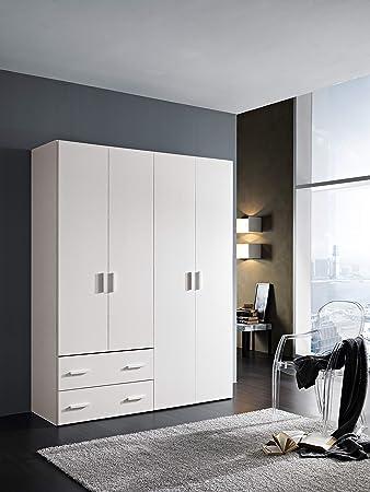 InHouse srls - Armario de madera, 4 puertas + 2 cajones, color blanco fresno, med. 211 x 163,4 x 53,3 cm.
