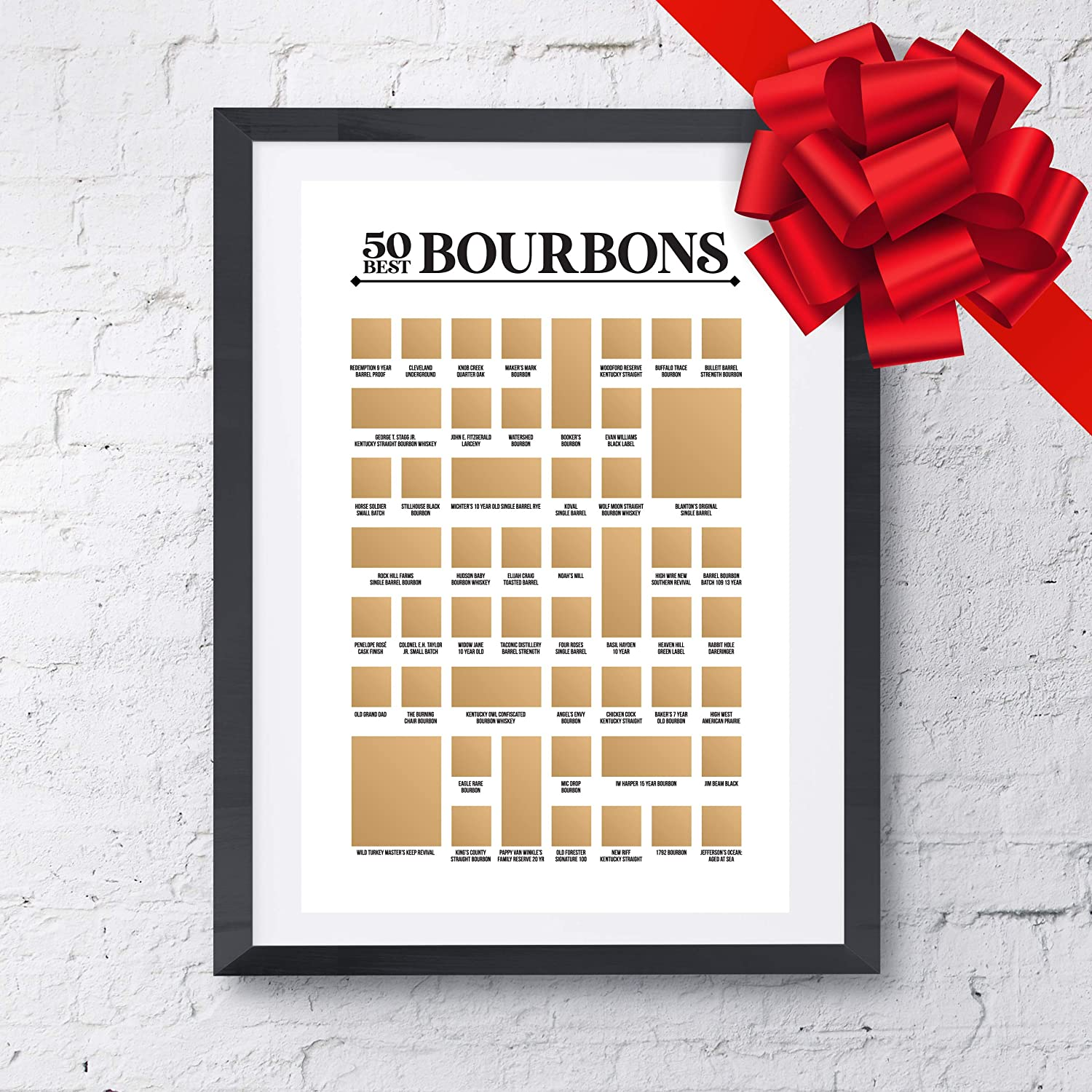 """The Bourbon Bucket List 12/"""" x 18/"""" Top Bourbons You Need to Try at Least Once! 50 Best Bourbons Scratch Off Poster"""