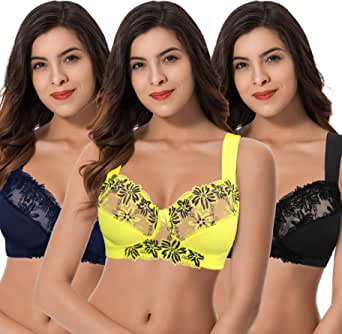 Curve Muse Plus Size Minimizer Unlined Wirefree Bra with Lace Embroidery-3 Pack
