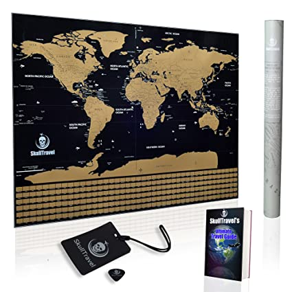 Amazon scratch off world map by skull travel poster with us scratch off world map by skull travel poster with us states country flags gumiabroncs Image collections
