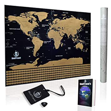 Amazon scratch off world map by skull travel poster with us scratch off world map by skull travel poster with us states country flags gumiabroncs Gallery